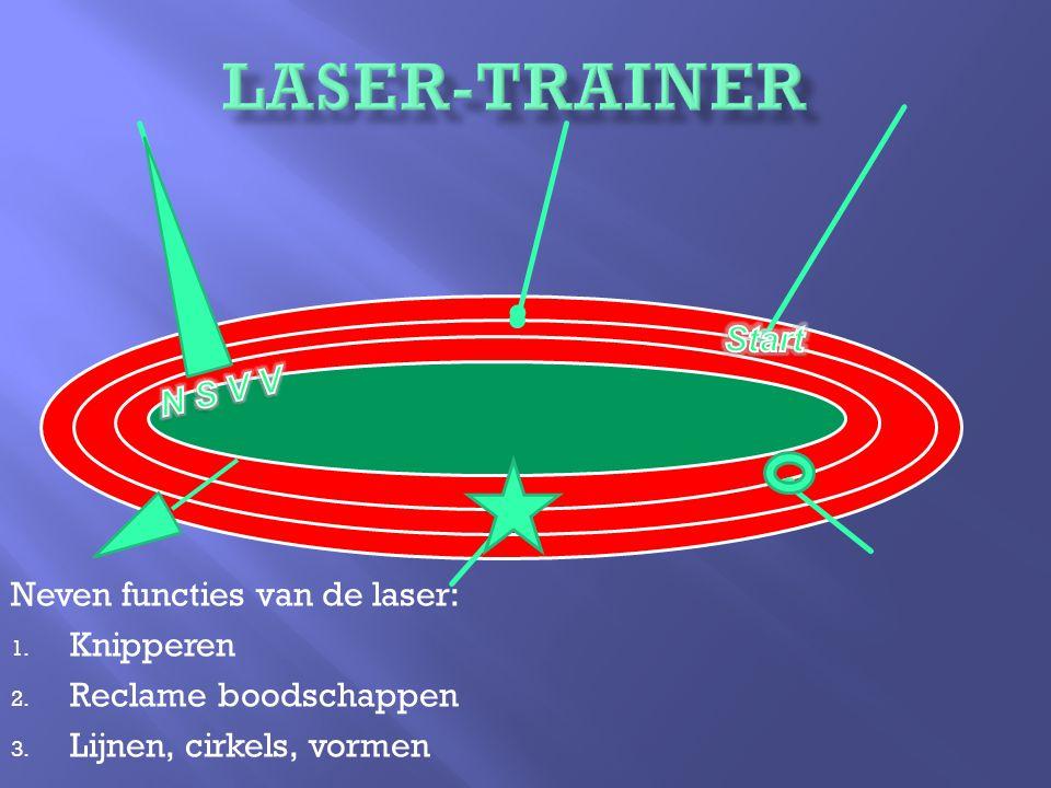 Neven functies van de laser: 1. Knipperen 2. Reclame boodschappen 3.