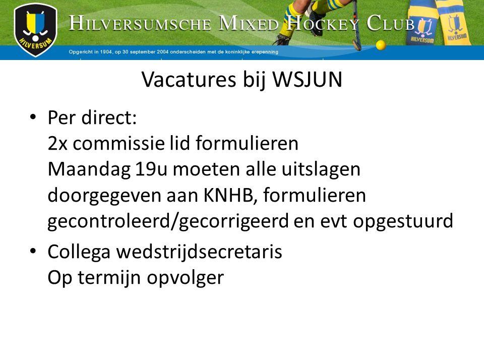 Vacatures bij WSJUN Per direct: 2x commissie lid formulieren Maandag 19u moeten alle uitslagen doorgegeven aan KNHB, formulieren gecontroleerd/gecorri