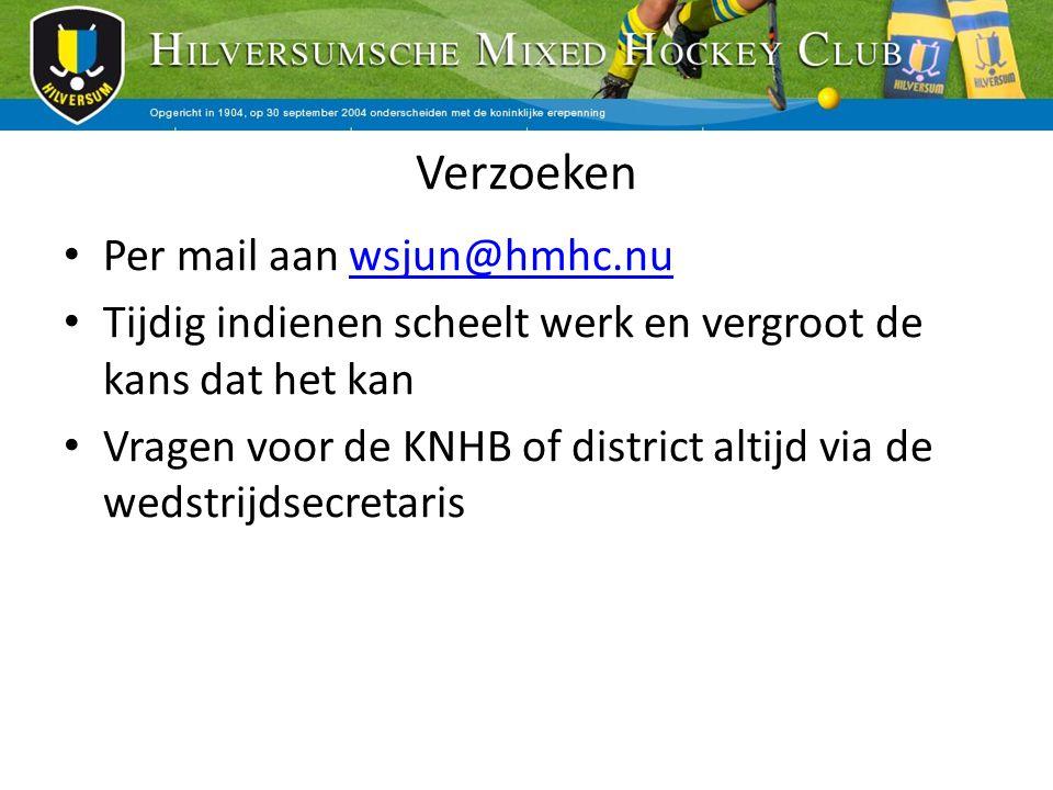 Verzoeken Per mail aan wsjun@hmhc.nuwsjun@hmhc.nu Tijdig indienen scheelt werk en vergroot de kans dat het kan Vragen voor de KNHB of district altijd