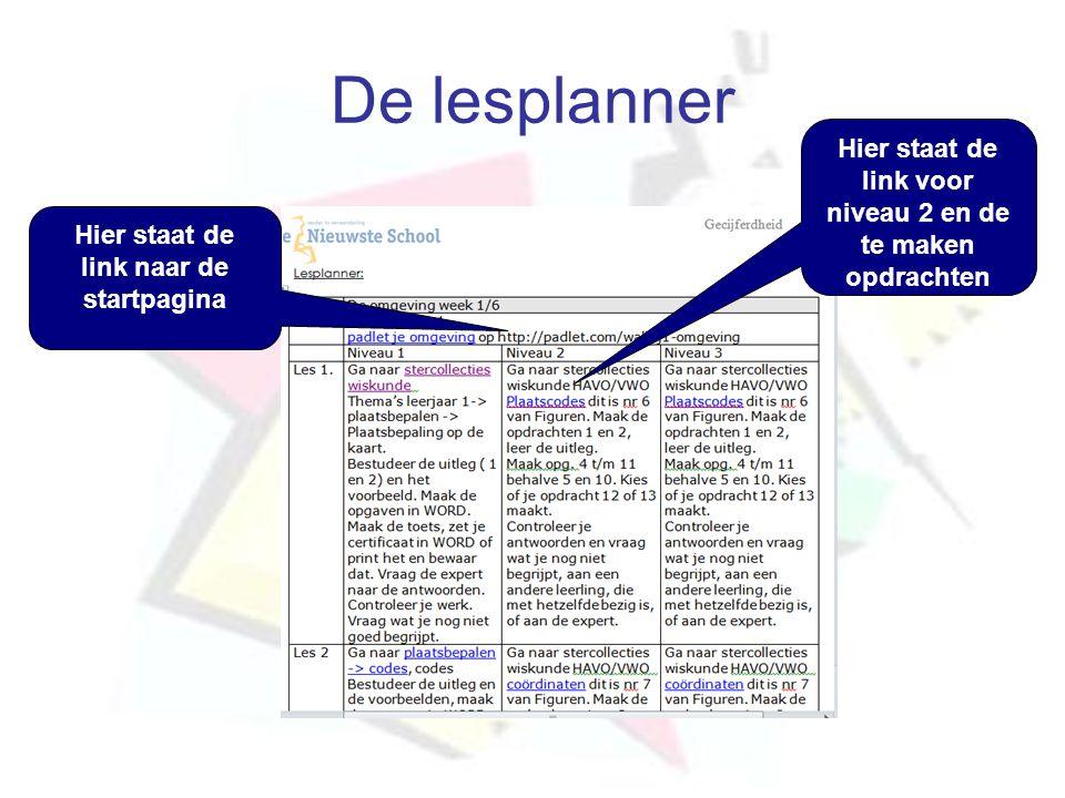 De lesplanner Hier staat de link naar de startpagina Hier staat de link voor niveau 2 en de te maken opdrachten