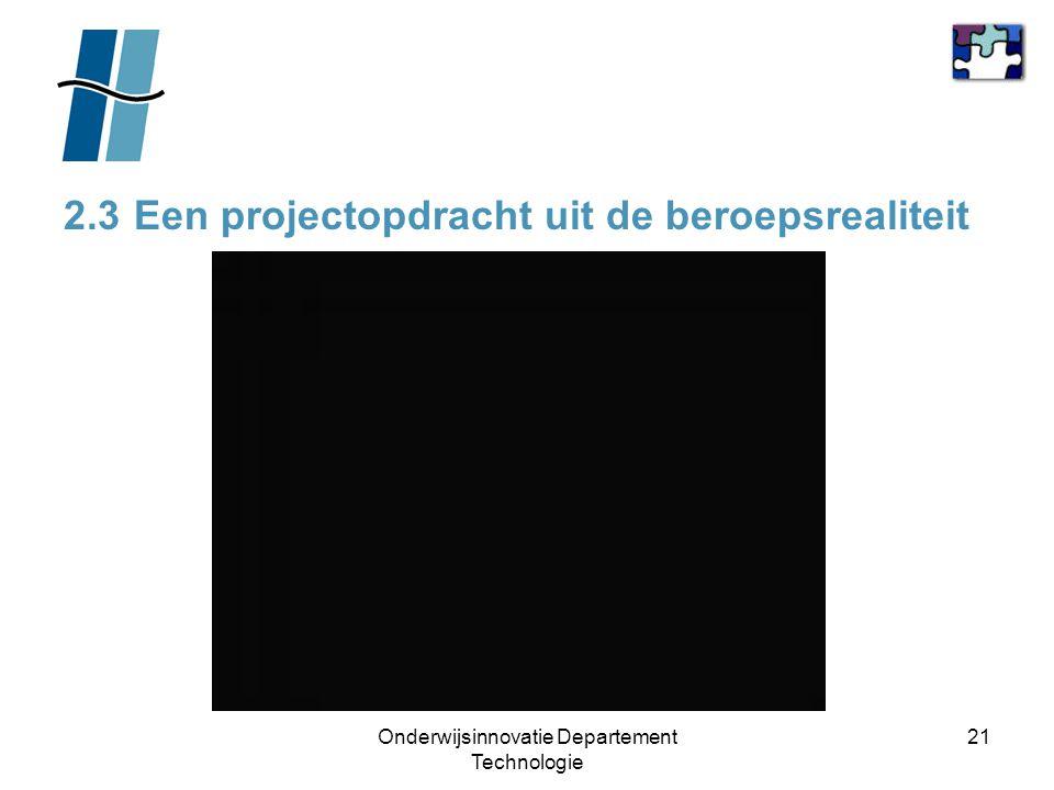 Onderwijsinnovatie Departement Technologie 21 2.3 Een projectopdracht uit de beroepsrealiteit