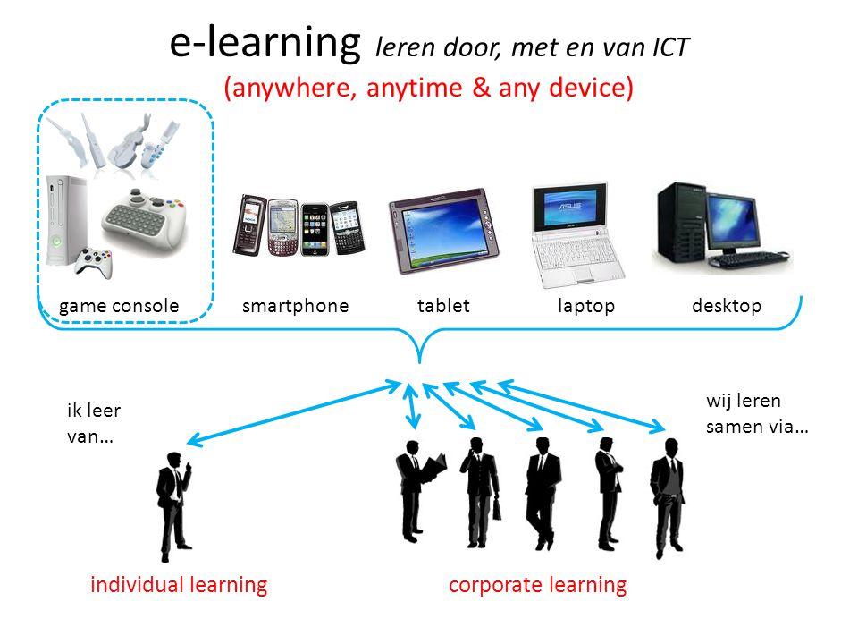 e-learning leren door, met en van ICT (anywhere, anytime & any device) game console smartphone tablet laptop desktop ik leer van… wij leren samen via…