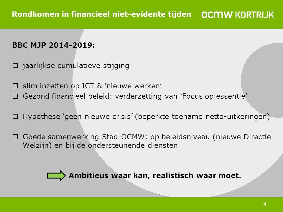 4 Rondkomen in financieel niet-evidente tijden BBC MJP 2014-2019:  jaarlijkse cumulatieve stijging  slim inzetten op ICT & 'nieuwe werken'  Gezond financieel beleid: verderzetting van 'Focus op essentie'  Hypothese 'geen nieuwe crisis' (beperkte toename netto-uitkeringen)  Goede samenwerking Stad-OCMW: op beleidsniveau (nieuwe Directie Welzijn) en bij de ondersteunende diensten Ambitieus waar kan, realistisch waar moet.