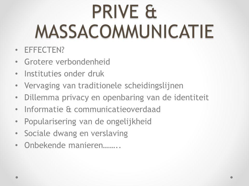 PRIVE & MASSACOMMUNICATIE EFFECTEN.