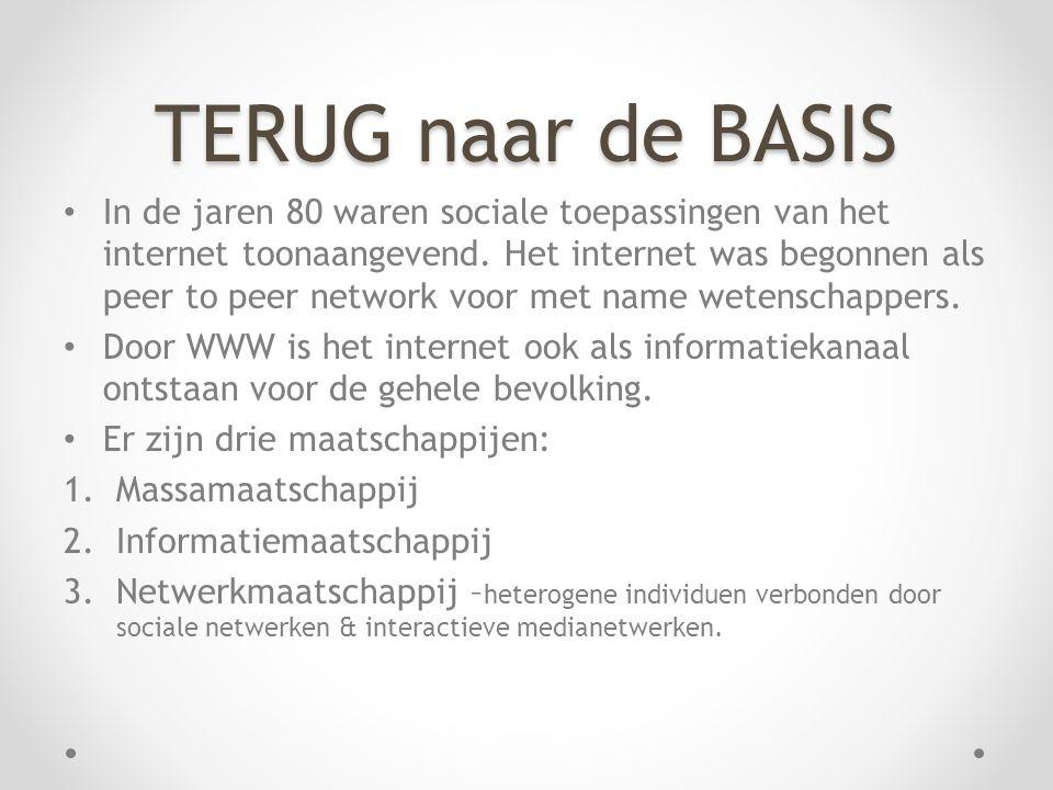 TERUG naar de BASIS In de jaren 80 waren sociale toepassingen van het internet toonaangevend.