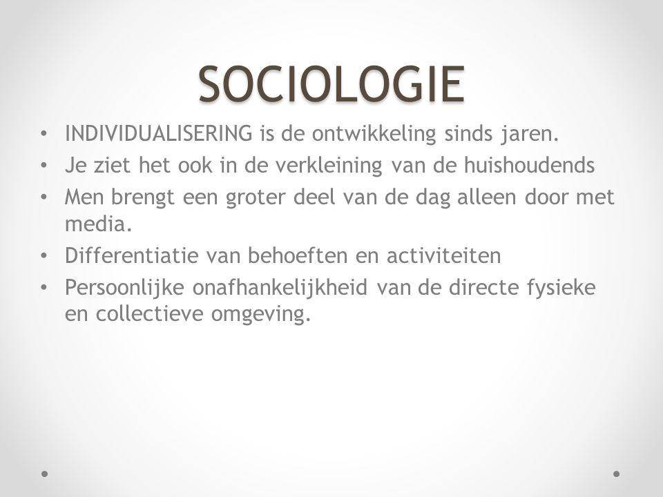 SOCIOLOGIE INDIVIDUALISERING is de ontwikkeling sinds jaren.