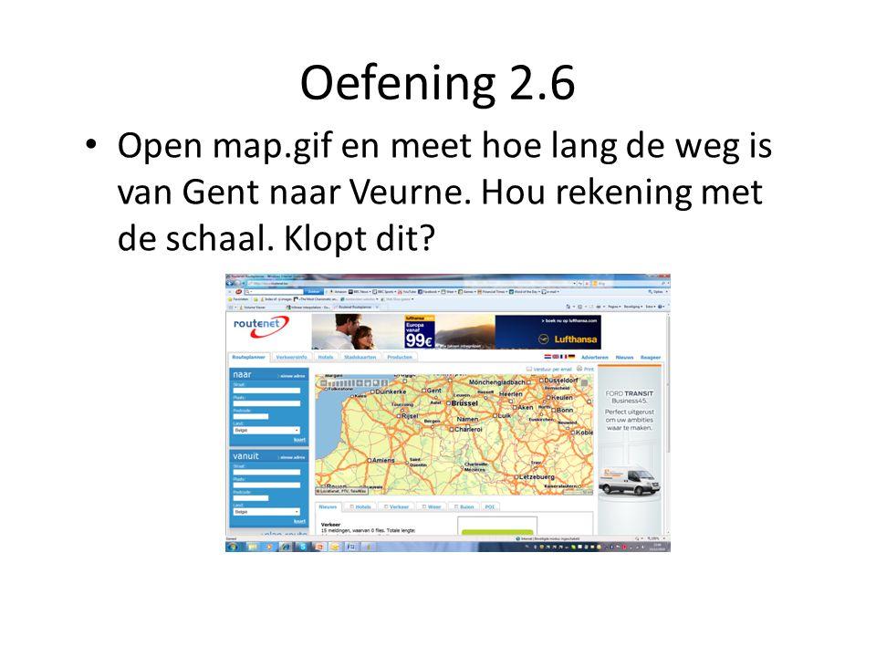 Oefening 2.6 Open map.gif en meet hoe lang de weg is van Gent naar Veurne.