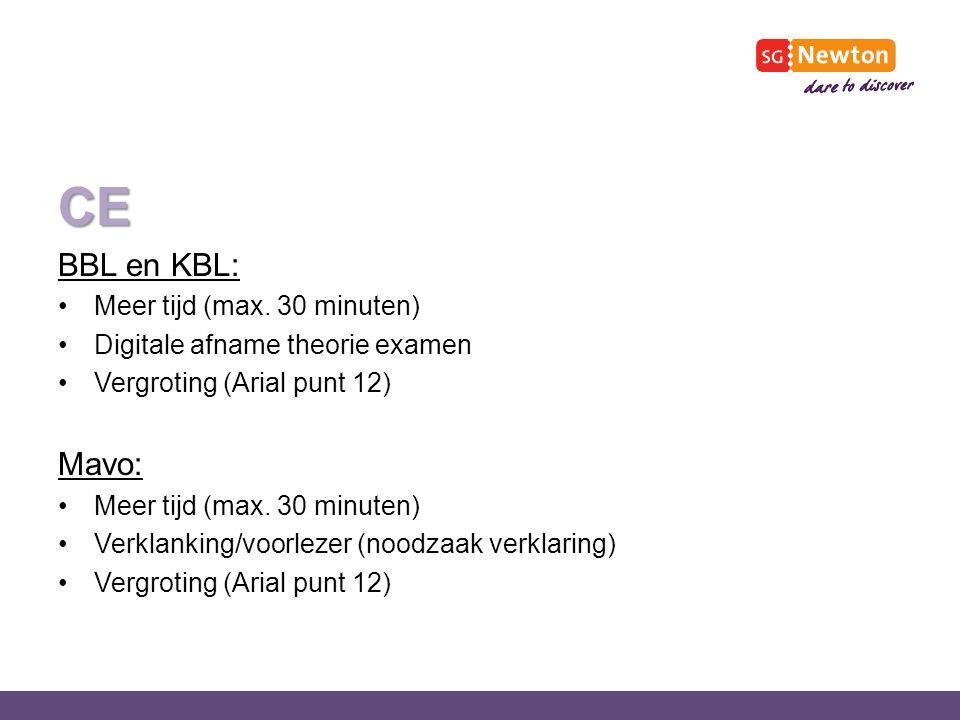 CE BBL en KBL: Meer tijd (max.
