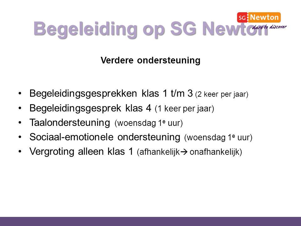Begeleiding op SG Newton Verdere ondersteuning Begeleidingsgesprekken klas 1 t/m 3 (2 keer per jaar) Begeleidingsgesprek klas 4 (1 keer per jaar) Taalondersteuning (woensdag 1 e uur) Sociaal-emotionele ondersteuning (woensdag 1 e uur) Vergroting alleen klas 1 (afhankelijk  onafhankelijk)