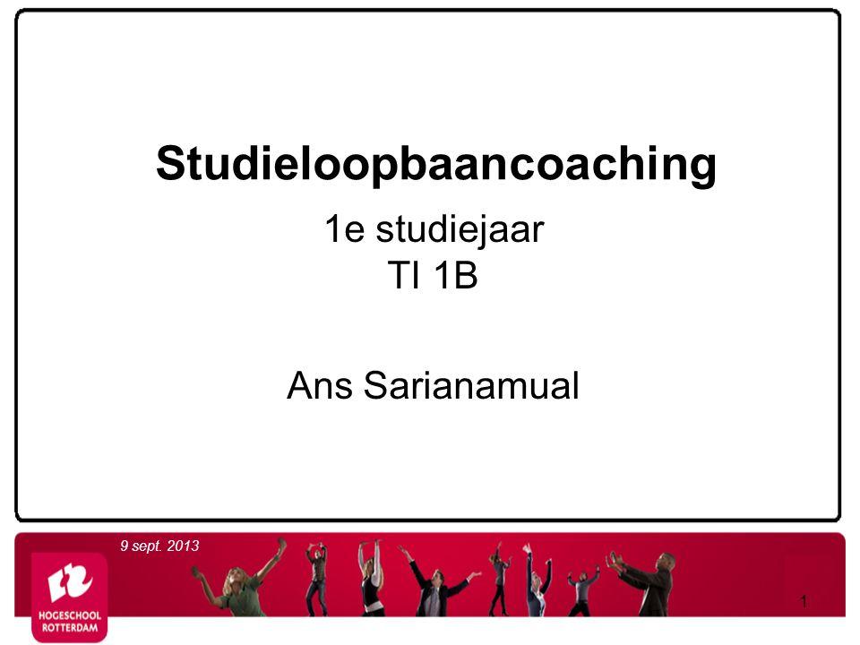 Studieloopbaancoaching 1e studiejaar TI 1B Ans Sarianamual 9 sept. 2013 1