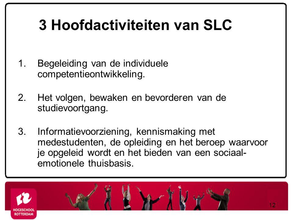 3 Hoofdactiviteiten van SLC 1.Begeleiding van de individuele competentieontwikkeling. 2.Het volgen, bewaken en bevorderen van de studievoortgang. 3.In