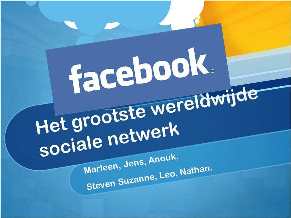Het grootste wereldwijde sociale netwerk Marleen, Jens, Anouk, Steven Suzanne, Leo, Nathan.
