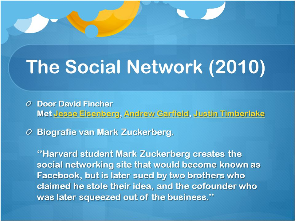 The Social Network (2010) Door David Fincher Met Jesse Eisenberg, Andrew Garfield, Justin Timberlake Jesse EisenbergAndrew GarfieldJustin TimberlakeJe