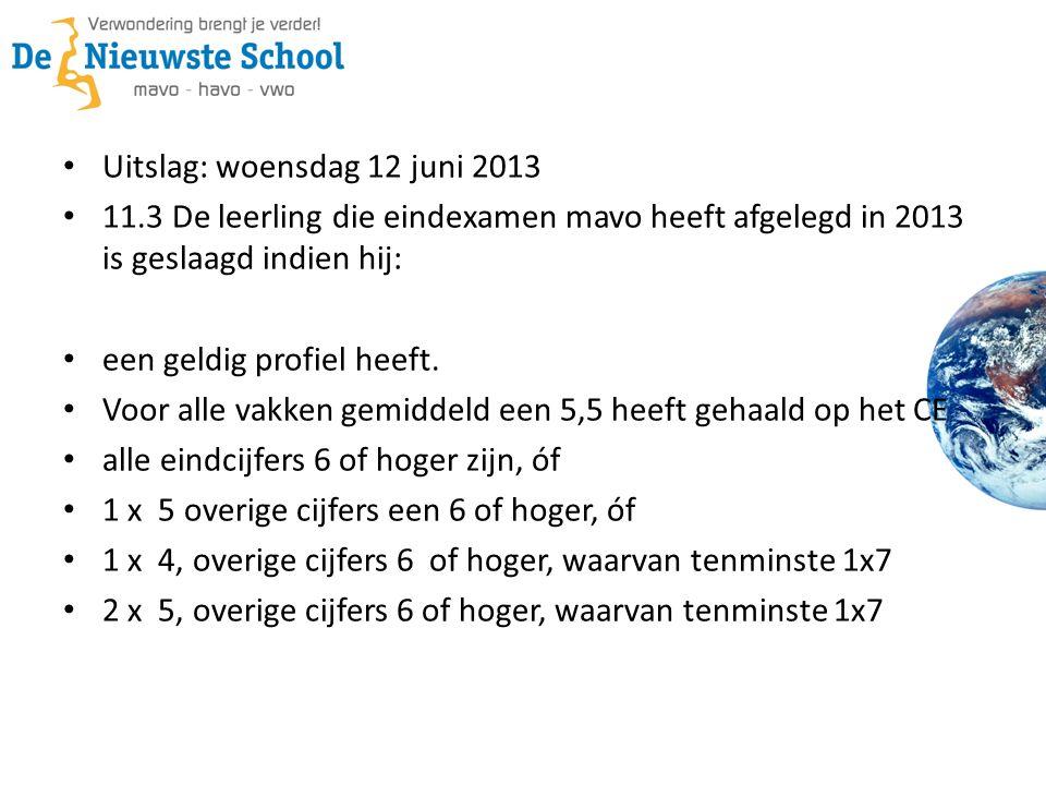Uitslag: woensdag 12 juni 2013 11.3 De leerling die eindexamen mavo heeft afgelegd in 2013 is geslaagd indien hij: een geldig profiel heeft. Voor alle