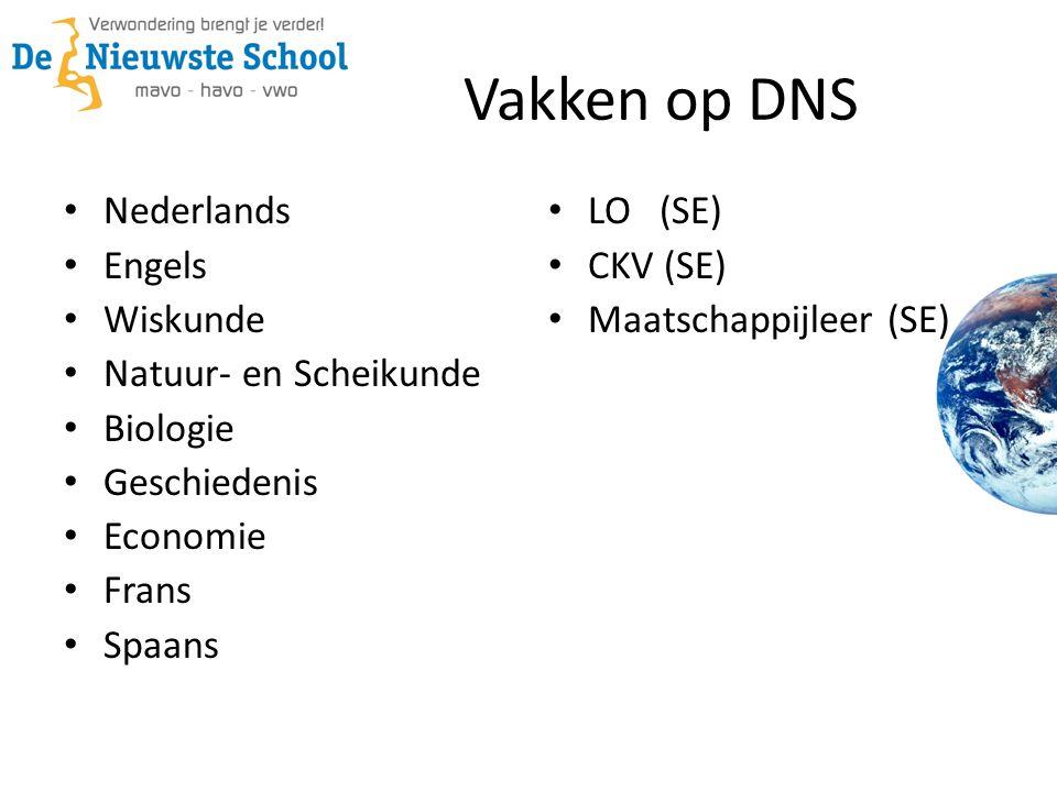 Vakken op DNS Nederlands Engels Wiskunde Natuur- en Scheikunde Biologie Geschiedenis Economie Frans Spaans LO (SE) CKV (SE) Maatschappijleer (SE)