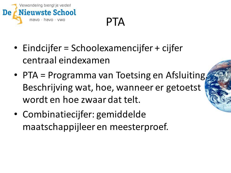 PTA Eindcijfer = Schoolexamencijfer + cijfer centraal eindexamen PTA = Programma van Toetsing en Afsluiting. Beschrijving wat, hoe, wanneer er getoets