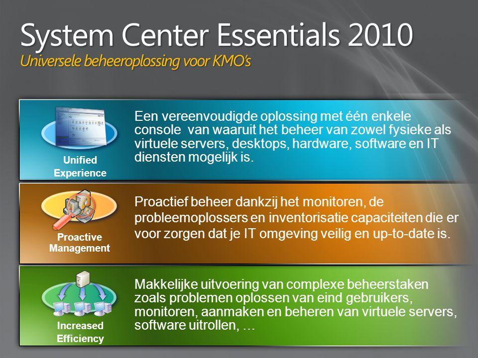 Een vereenvoudigde oplossing met één enkele console van waaruit het beheer van zowel fysieke als virtuele servers, desktops, hardware, software en IT diensten mogelijk is.