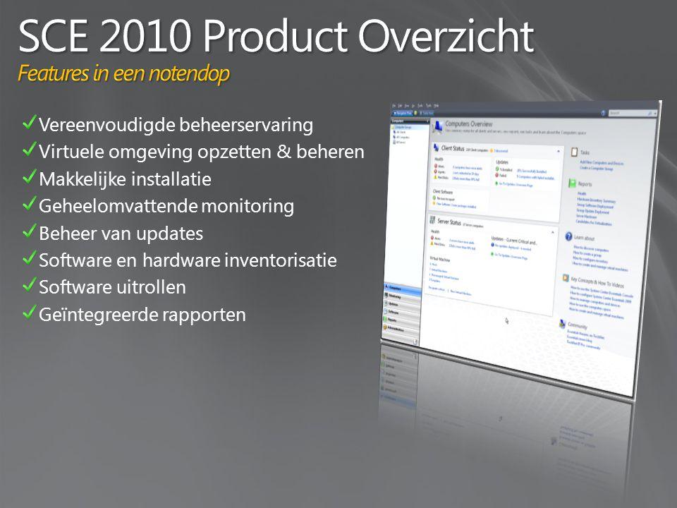 Vereenvoudigde beheerservaring Virtuele omgeving opzetten & beheren Makkelijke installatie Geheelomvattende monitoring Beheer van updates Software en hardware inventorisatie Software uitrollen Geïntegreerde rapporten