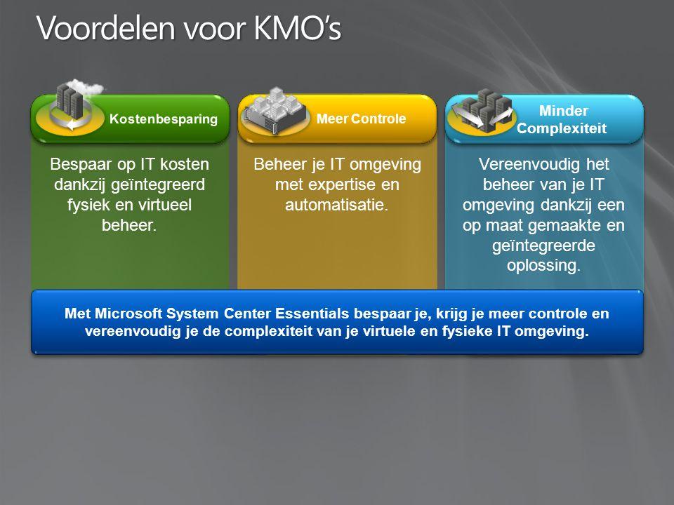 Voordelen voor KMO's Meer Controle Minder Complexiteit Bespaar op IT kosten dankzij geïntegreerd fysiek en virtueel beheer.