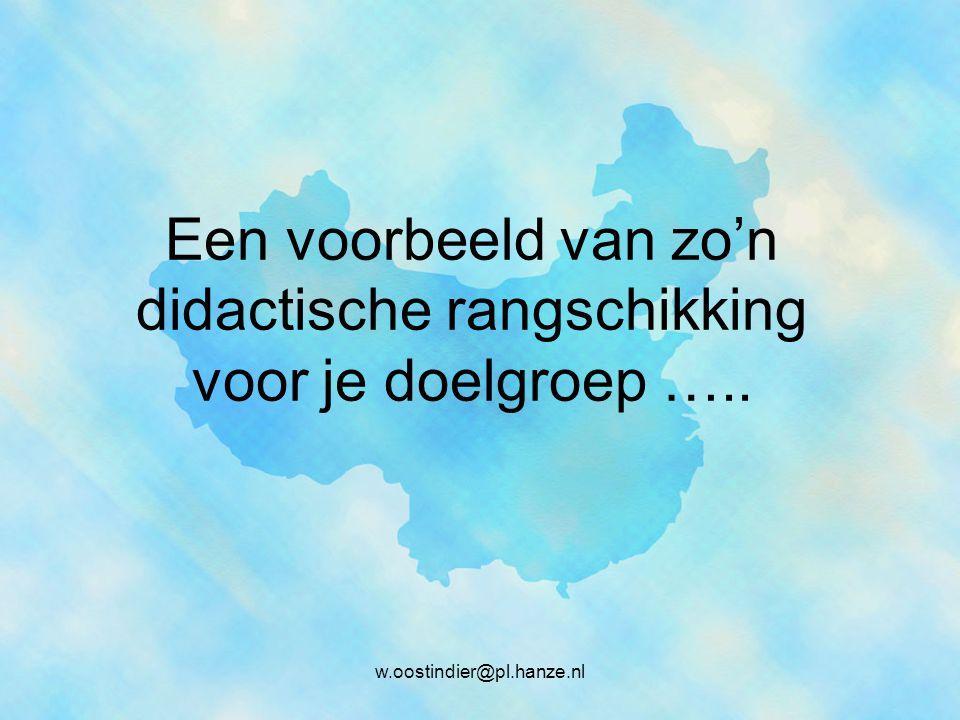 Een voorbeeld van zo'n didactische rangschikking voor je doelgroep ….. w.oostindier@pl.hanze.nl