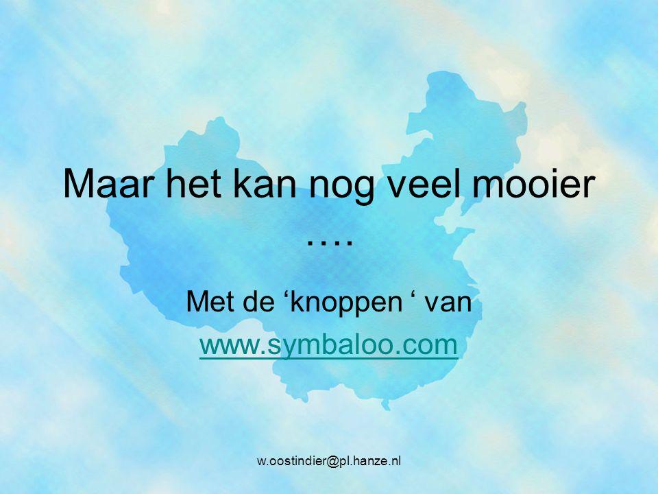 Maar het kan nog veel mooier …. Met de 'knoppen ' van www.symbaloo.com w.oostindier@pl.hanze.nl