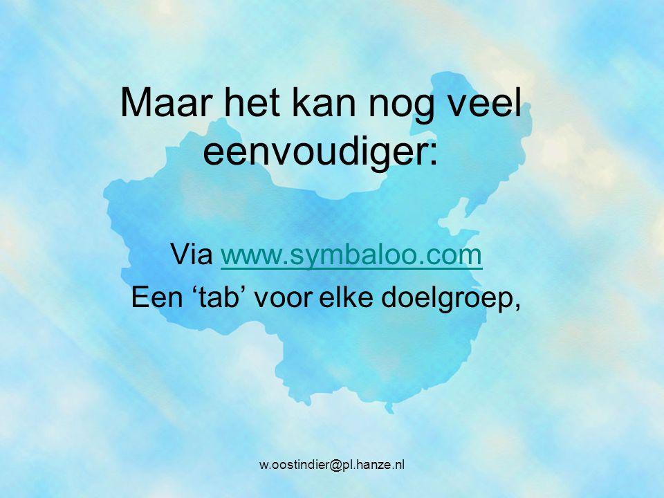 Maar het kan nog veel eenvoudiger: Via www.symbaloo.comwww.symbaloo.com Een 'tab' voor elke doelgroep, w.oostindier@pl.hanze.nl