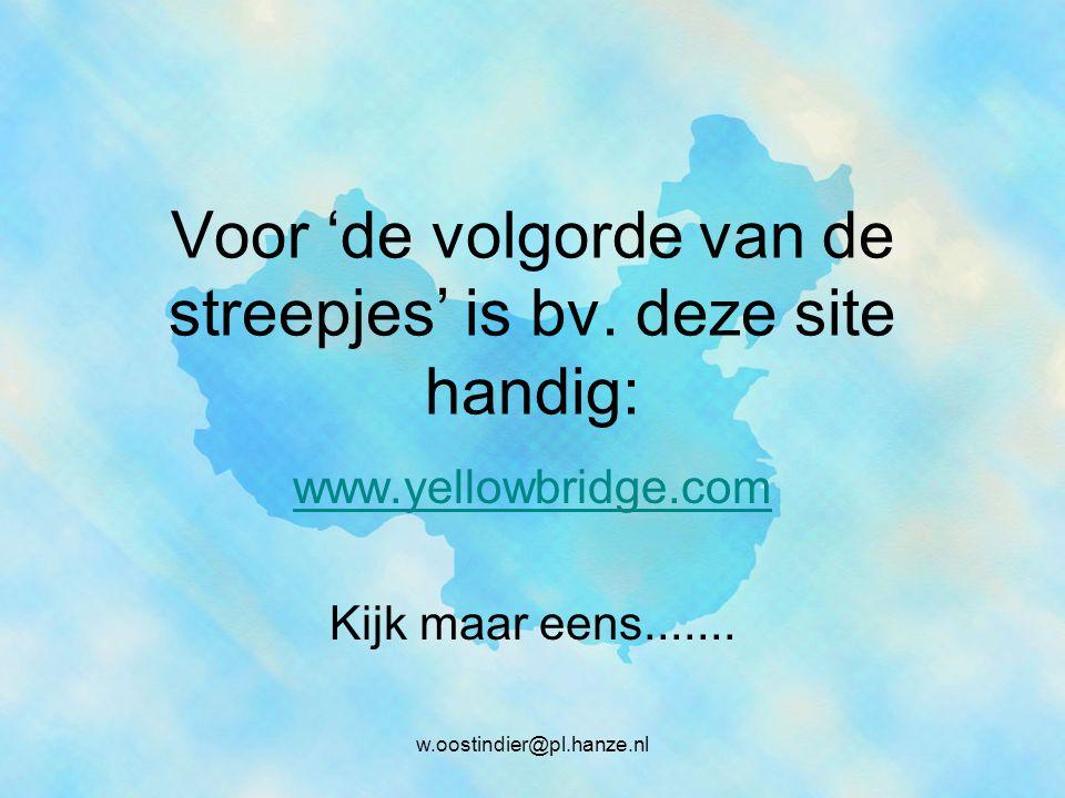 w.oostindier@pl.hanze.nl Voor 'de volgorde van de streepjes' is bv.