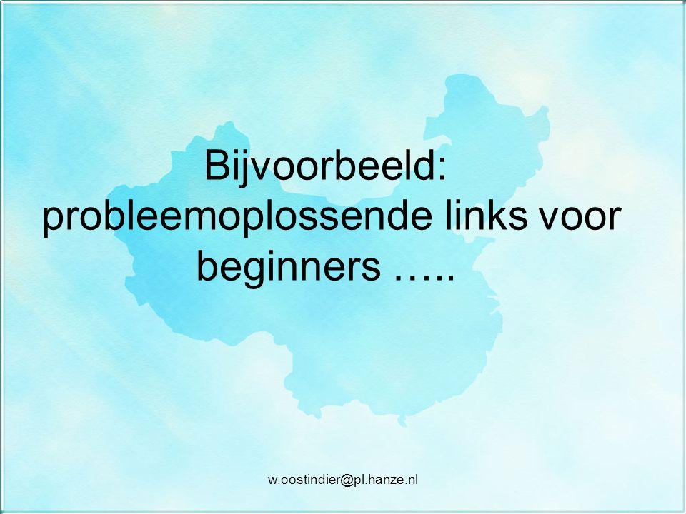 Bijvoorbeeld: probleemoplossende links voor beginners ….. w.oostindier@pl.hanze.nl