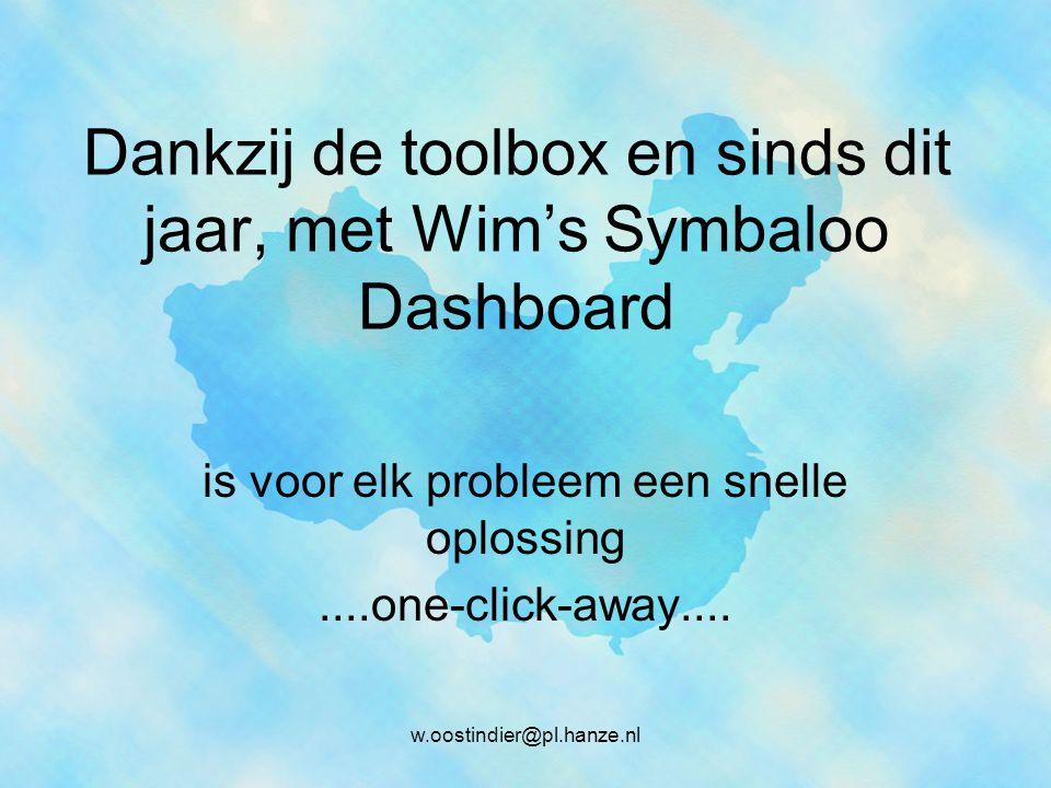Dankzij de toolbox en sinds dit jaar, met Wim's Symbaloo Dashboard is voor elk probleem een snelle oplossing....one-click-away....
