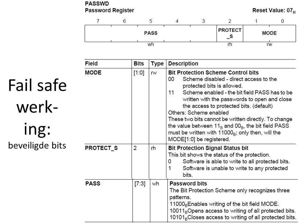 Fail safe werk- ing: beveiligde bits