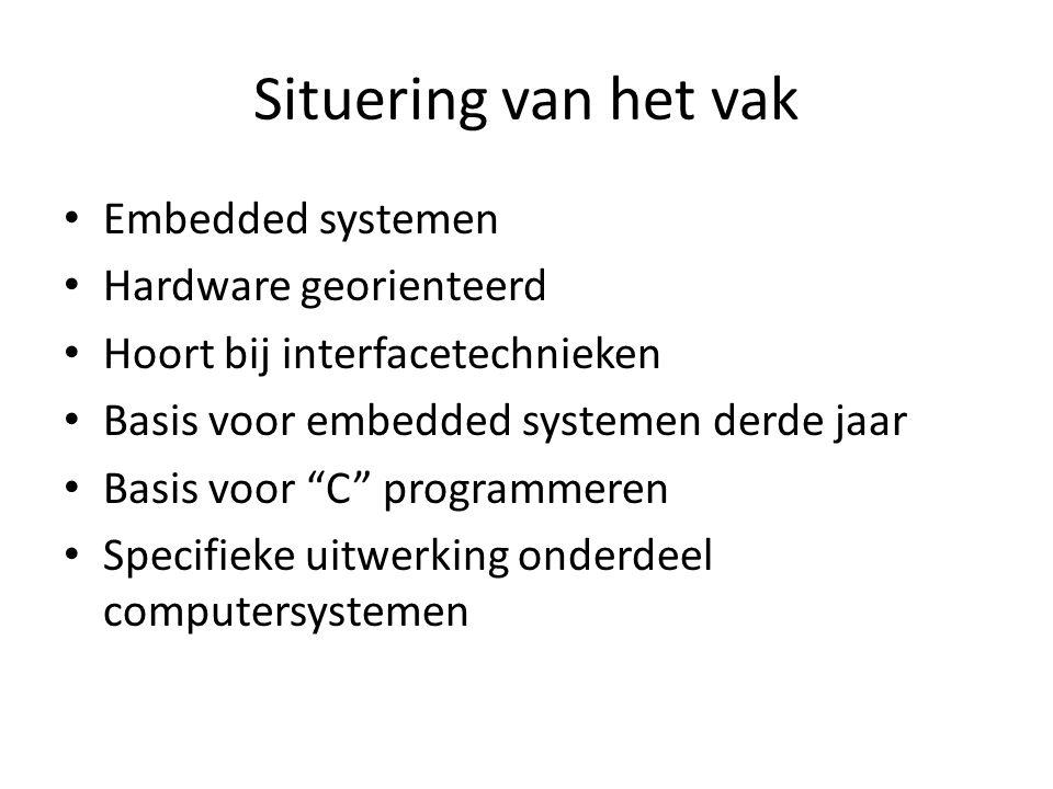 Situering van het vak Embedded systemen Hardware georienteerd Hoort bij interfacetechnieken Basis voor embedded systemen derde jaar Basis voor C programmeren Specifieke uitwerking onderdeel computersystemen