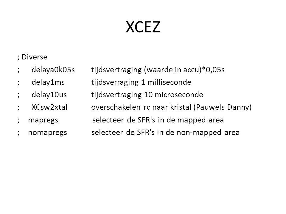 XCEZ ; Diverse ; delaya0k05s tijdsvertraging (waarde in accu)*0,05s ; delay1ms tijdsverraging 1 milliseconde ; delay10us tijdsvertraging 10 microseconde ; XCsw2xtal overschakelen rc naar kristal (Pauwels Danny) ;mapregs selecteer de SFR s in de mapped area ;nomapregs selecteer de SFR s in de non-mapped area
