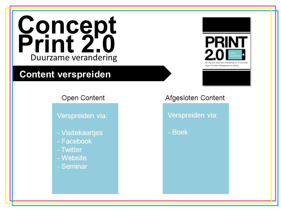 De trend Concept Print 2.0 Content verspreiden Open ContentAfgesloten Content Verspreiden via: - Visitekaartjes - Facebook - Twitter - Website - Seminar Verspreiden via: - Boek Duurzame verandering