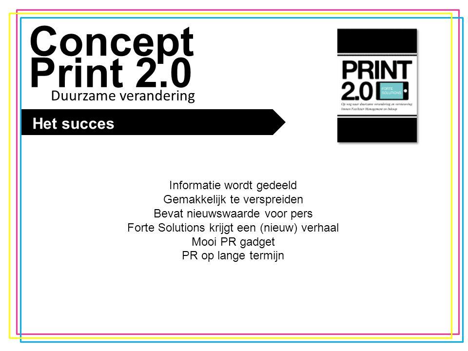 De trend Concept Print 2.0 Het succes Informatie wordt gedeeld Gemakkelijk te verspreiden Bevat nieuwswaarde voor pers Forte Solutions krijgt een (nie