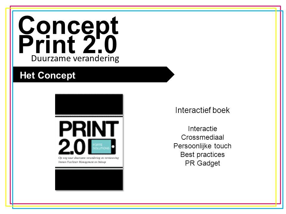 De trend Concept Print 2.0 PR Marketing plan En verder: Persberichten uitsturen naar relevante pers Interviews geven over het boek Het boek promoten op beurzen en seminars Samenwerken met relevante bloggers en journalisten Duurzame verandering