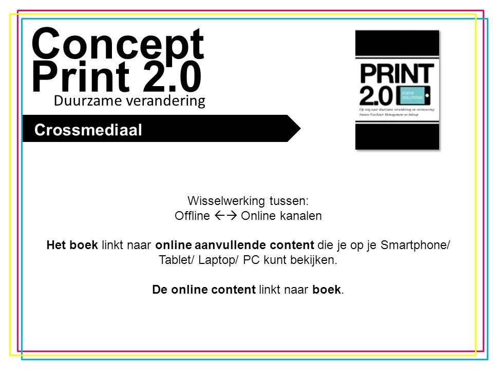 De trend Concept Print 2.0 Crossmediaal Wisselwerking tussen: Offline  Online kanalen Het boek linkt naar online aanvullende content die je op je Sm