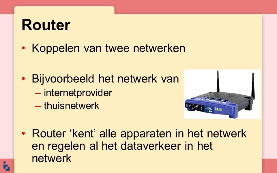 Router Koppelen van twee netwerken Bijvoorbeeld het netwerk van –internetprovider –thuisnetwerk Router 'kent' alle apparaten in het netwerk en regelen