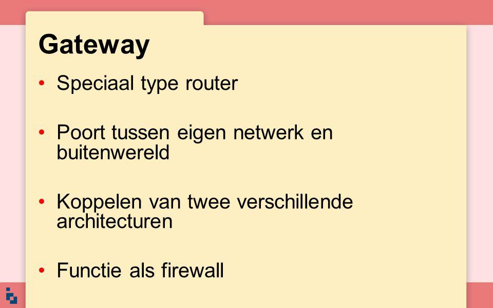 Gateway Speciaal type router Poort tussen eigen netwerk en buitenwereld Koppelen van twee verschillende architecturen Functie als firewall