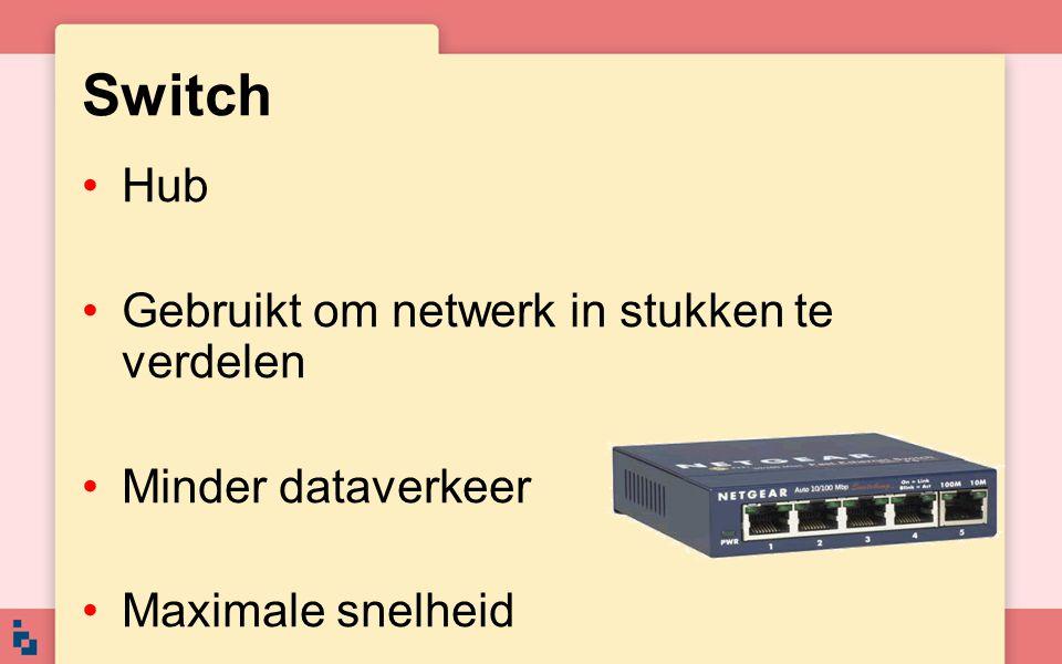 Switch Hub Gebruikt om netwerk in stukken te verdelen Minder dataverkeer Maximale snelheid