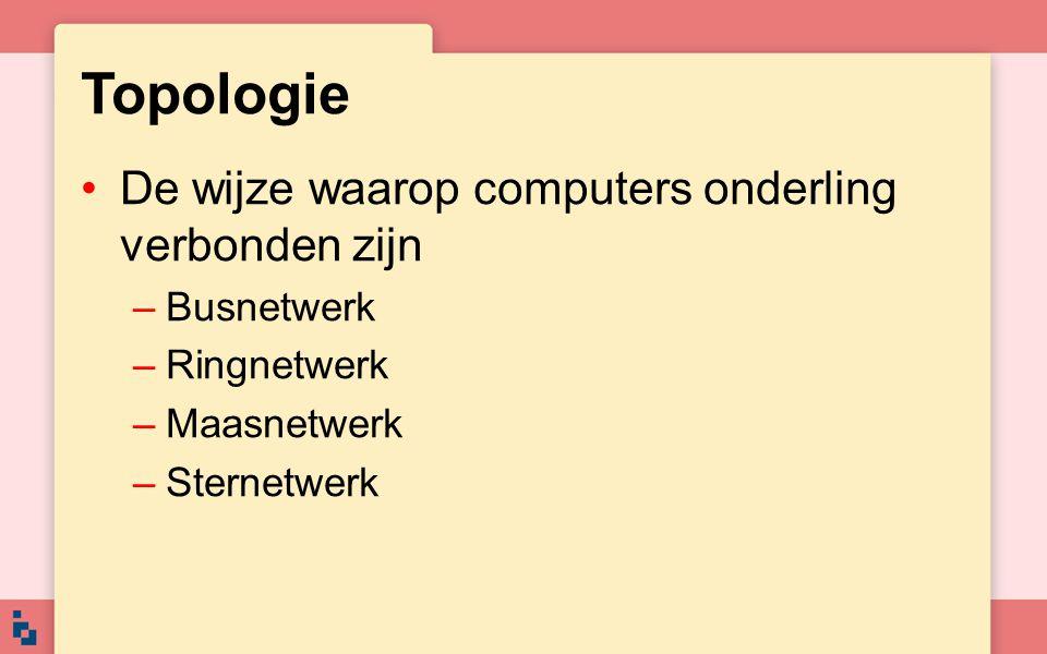 Topologie De wijze waarop computers onderling verbonden zijn –Busnetwerk –Ringnetwerk –Maasnetwerk –Sternetwerk