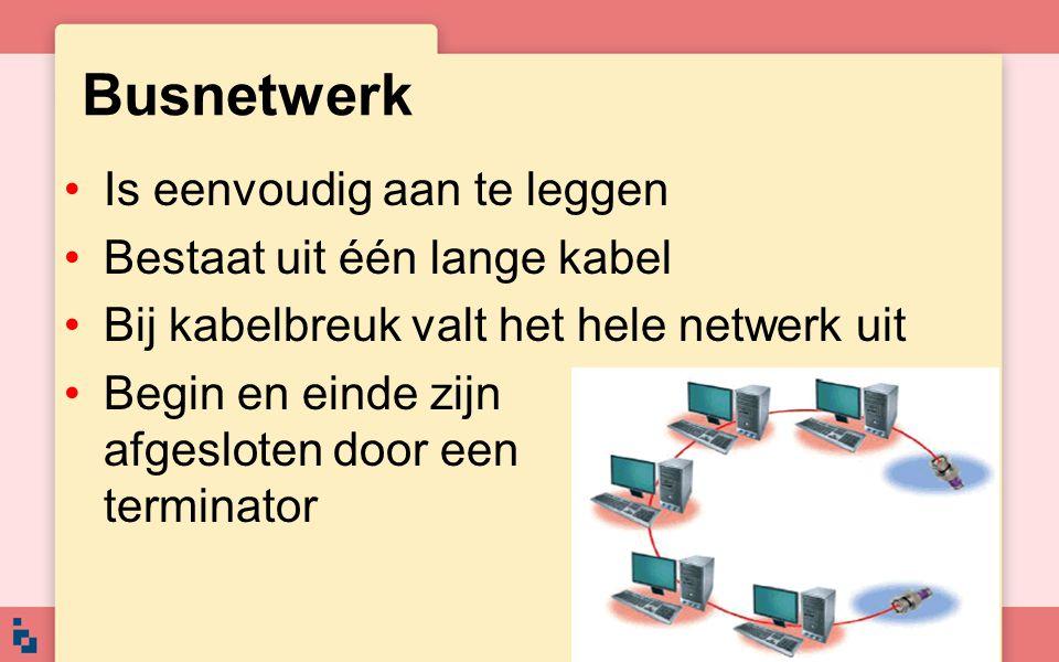 Is eenvoudig aan te leggen Bestaat uit één lange kabel Bij kabelbreuk valt het hele netwerk uit Begin en einde zijn afgesloten door een terminator