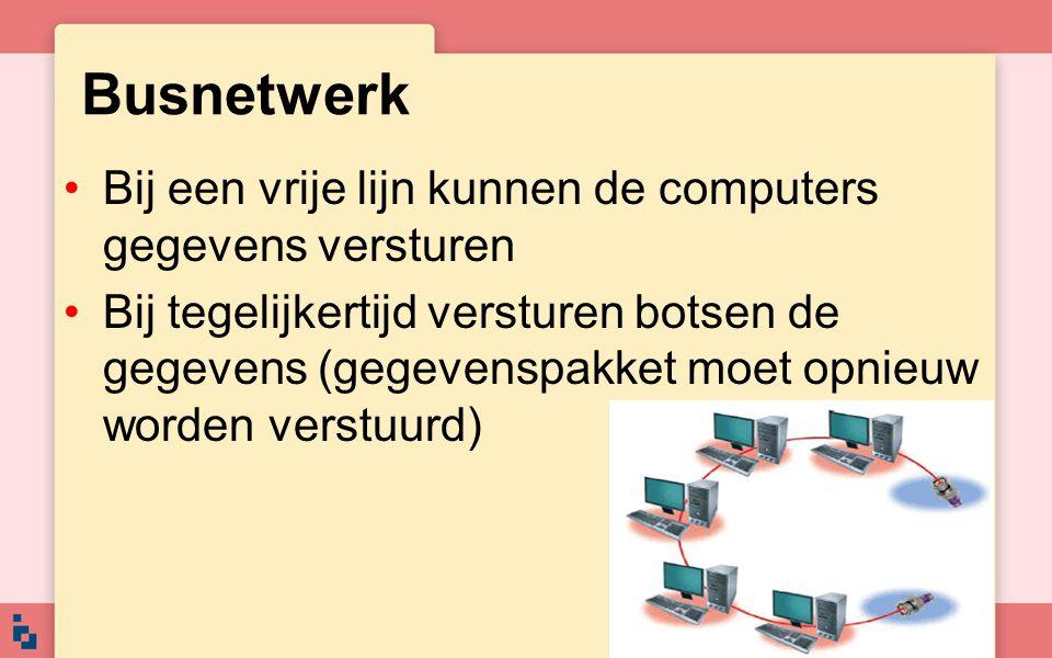 Busnetwerk Bij een vrije lijn kunnen de computers gegevens versturen Bij tegelijkertijd versturen botsen de gegevens (gegevenspakket moet opnieuw word