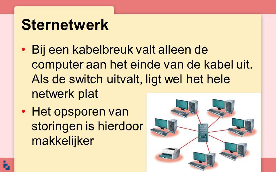 Sternetwerk Bij een kabelbreuk valt alleen de computer aan het einde van de kabel uit. Als de switch uitvalt, ligt wel het hele netwerk plat Het opspo