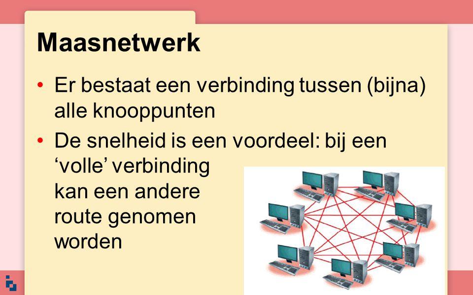 Er bestaat een verbinding tussen (bijna) alle knooppunten De snelheid is een voordeel: bij een 'volle' verbinding kan een andere route genomen worden
