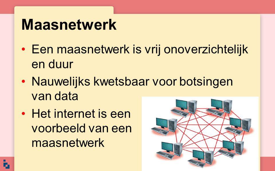 Maasnetwerk Een maasnetwerk is vrij onoverzichtelijk en duur Nauwelijks kwetsbaar voor botsingen van data Het internet is een voorbeeld van een maasne