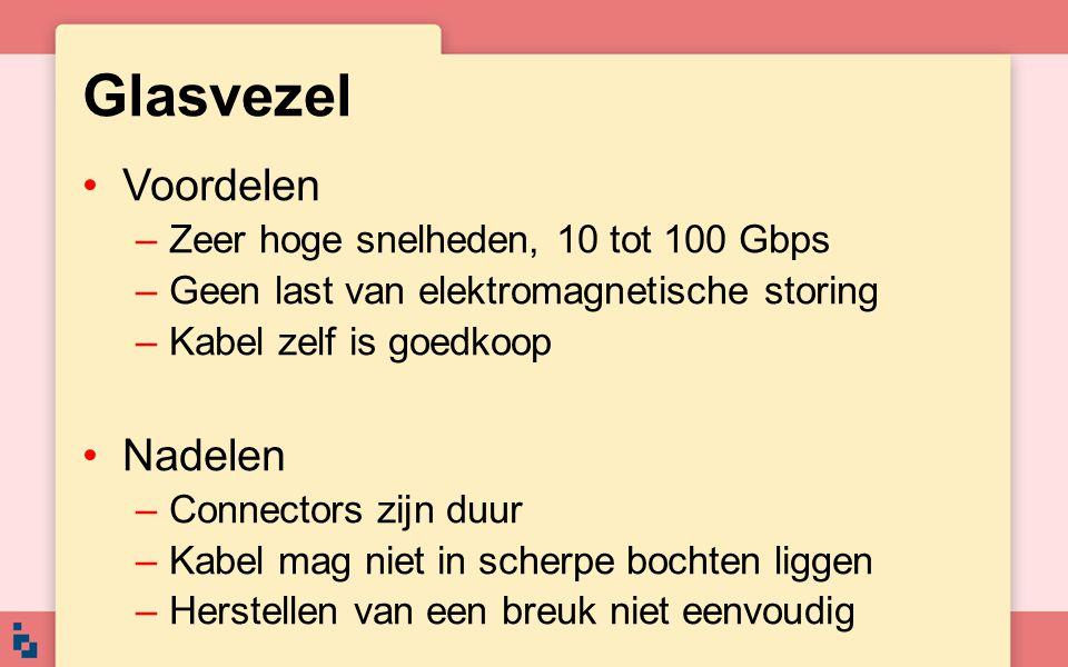 Glasvezel Voordelen –Zeer hoge snelheden, 10 tot 100 Gbps –Geen last van elektromagnetische storing –Kabel zelf is goedkoop Nadelen –Connectors zijn d