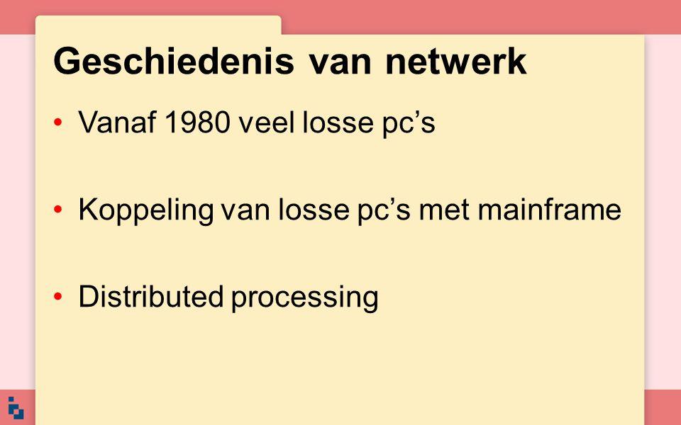 Voordelen van een netwerk Minder kosten bij aanschaf software Gebruikers hebben gelijktijdig toegang tot gemeenschappelijke gegevens Gemeenschappelijk gebruik van printers e.d.