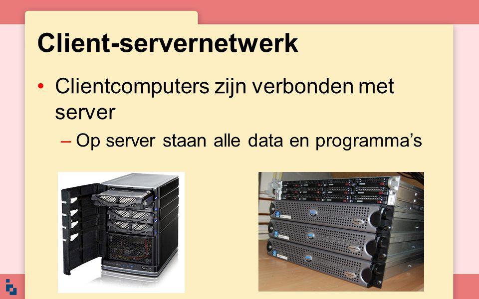 Client-servernetwerk Er wordt een duidelijk onderscheid gemaakt tussen server en client De server moet enorm snel zijn Kan verschillende doeleinden hebben