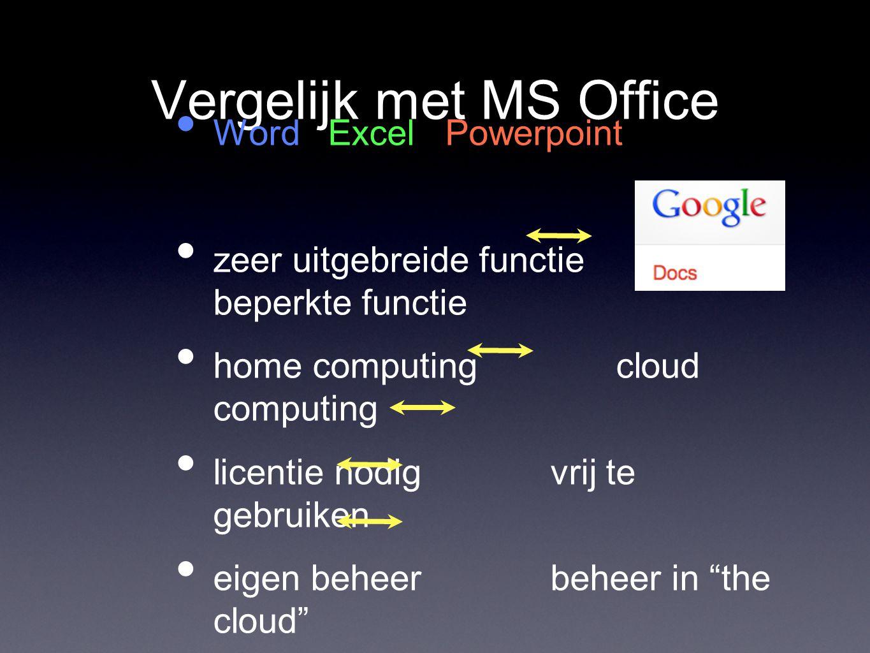 Vergelijk met MS Office Word Excel Powerpoint zeer uitgebreide functie beperkte functie home computing cloud computing licentie nodig vrij te gebruike