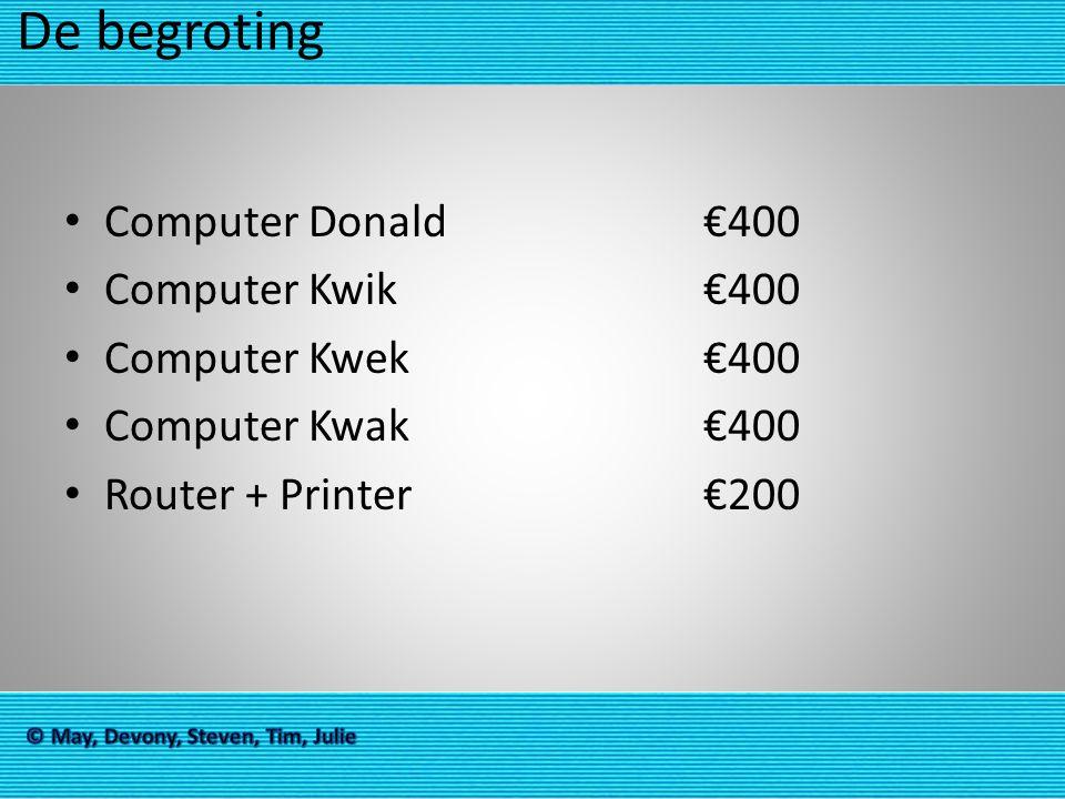 De begroting Computer Donald €400 Computer Kwik€400 Computer Kwek€400 Computer Kwak€400 Router + Printer€200